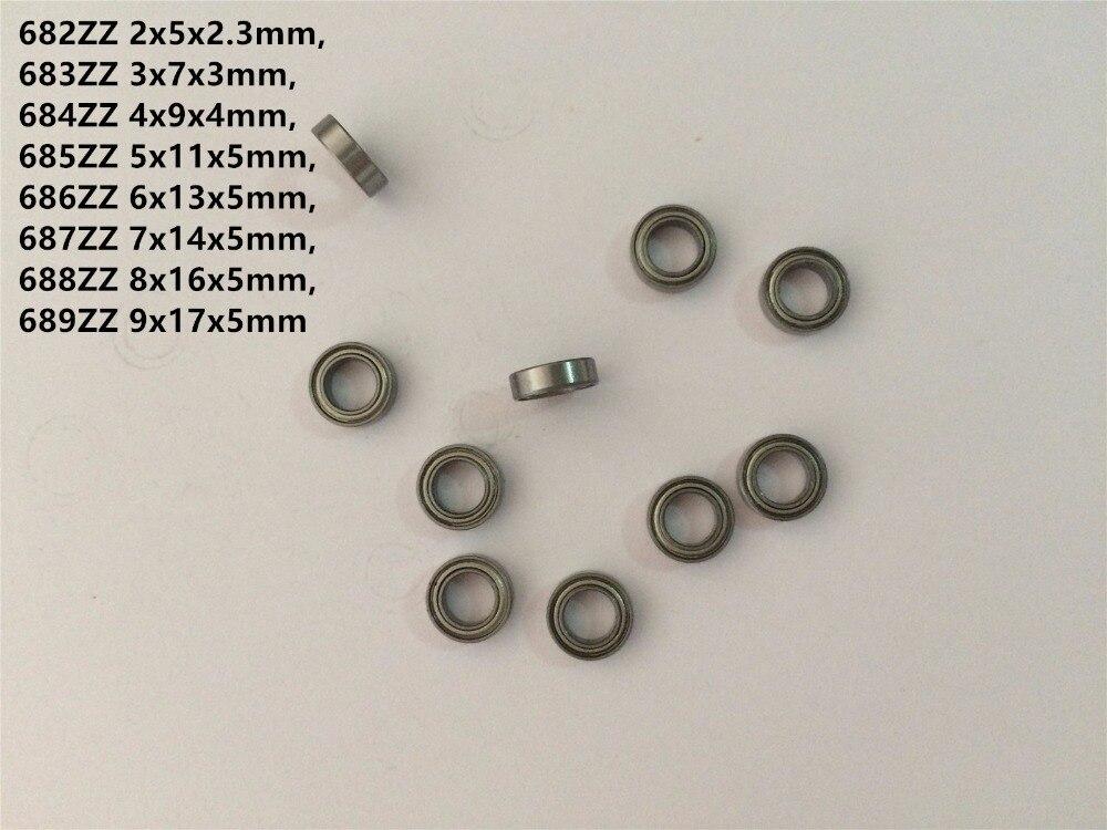 Мини-подшипники 682ZZ 683ZZ 684ZZ 685ZZ 686ZZ 687ZZ 688ZZ 689ZZ, металлические герметичные Миниатюрные шарикоподшипники, 10 шт.