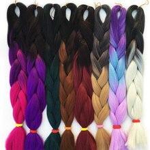 FALEMEI-tresses synthétiques jumbo colorées ombré   100g/paquet, mèches au crochet de 24 pouces, coiffures pour poupées