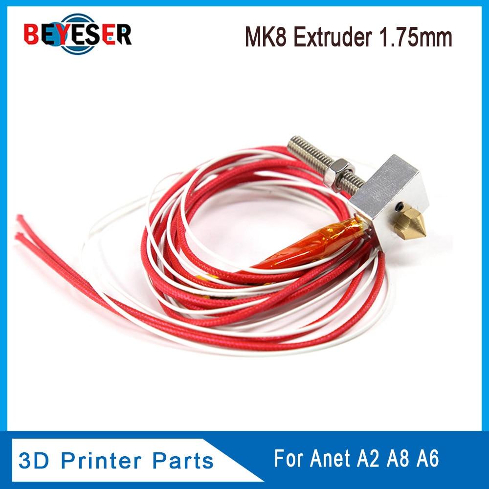 Kit de extrusora Hotend ANET A8/A6 MK7/MK8 con llave M2, impresora 3D, bloque calefactado + garganta + boquilla de 1,75mm/0,4mm + Kit de calentador de cartucho 2