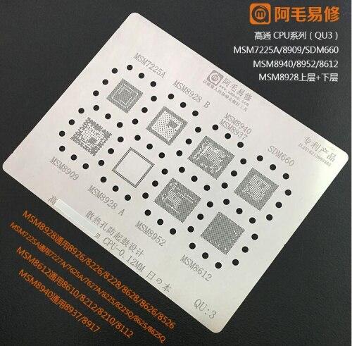 Quanlity elevado IC Chipset BGA template stencil reballing Solda para MSM7225A 8909/8928/8940/8937/8952 /8612 SDM660