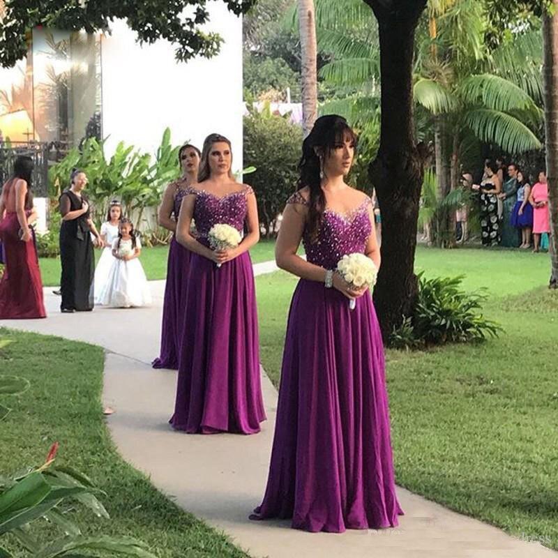 Novedad Vestido largo de gasa púrpura para boda, vestido de tela de...
