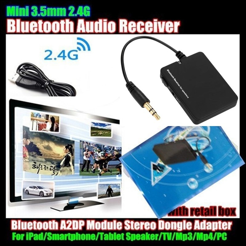 10p! Mini 3.5mm Wireless Bluetooth V2.1 Audio Music Receiver For Pad/Smartphone/Speaker/TV/Mp3/Mp4/PC,A2DP Module Stereo Dongle