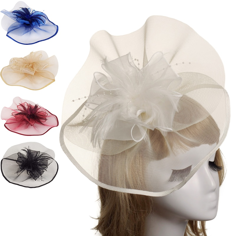 Головные уборы для женщин, свадебные головные уборы с зажимом и перьями, Украшенные бусинами, свадебные головные уборы, аксессуары