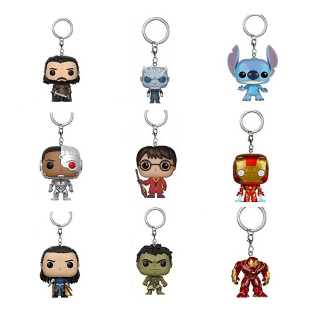 FUNKO פופ ברזל-איש Keychain צעצוע נוקמי ספיידרמן Deadpool הארלי קווין משחק של הכס ג 'ון שלג לילה מלך תליונים צעצועים