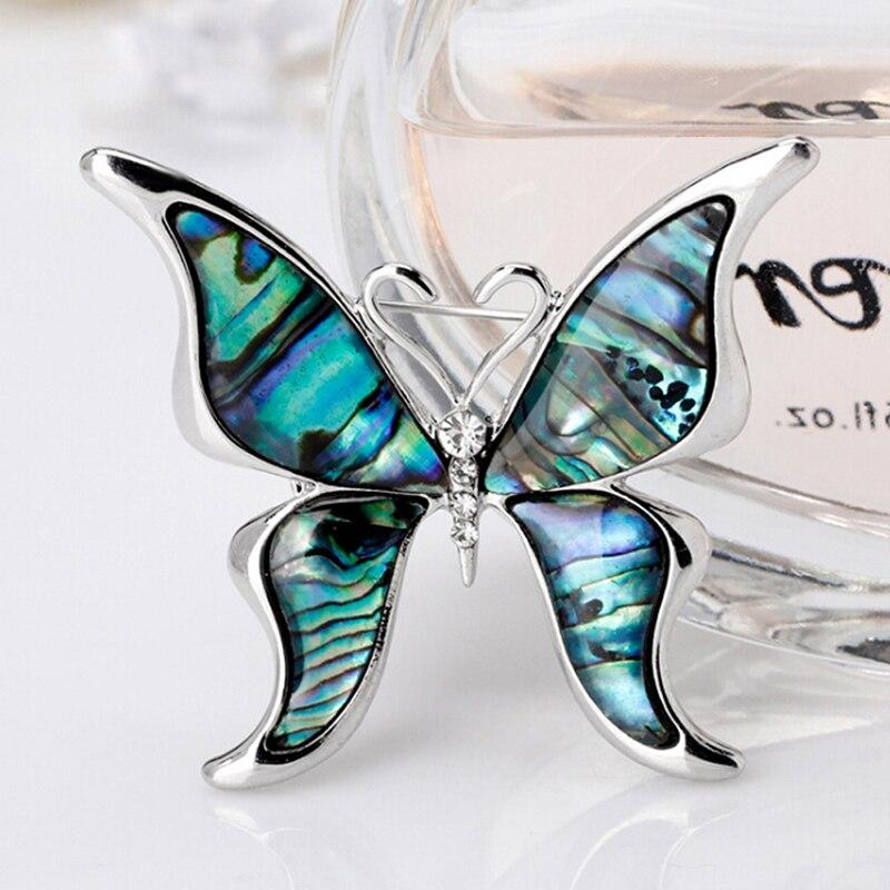 Broche de diamantes de imitación de Animal gato/zorro/mariposa concha de abulón Natural broches de gato para mujeres Metal banquete de bodas broche