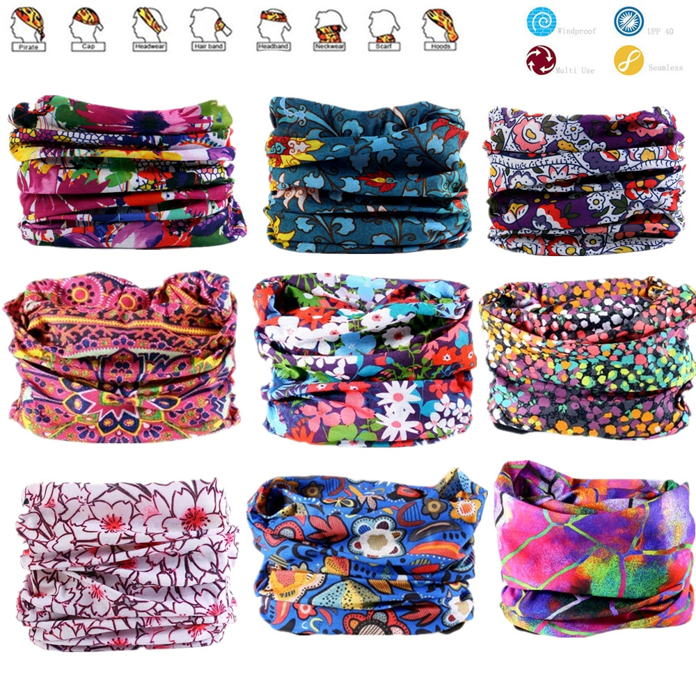Flower Series Hiking Scarf Sport Headwear Women Reversible Bandanas Turban Hand Band Magic Scarves O
