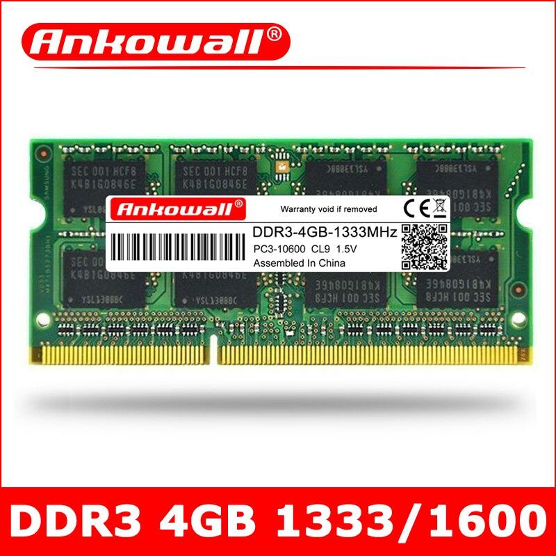 ANKOWALL DDR3 מחשב נייד 4GB 1333 1600 MHz sodimm RAM מחברת זיכרון 204pin 1.5V אחריות שלוש שנים