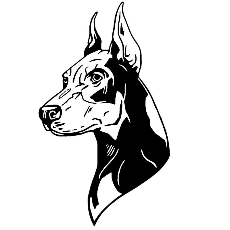 12,7*21,8 см собака породы Доберман-пинчер наклейки для автомобиля креативная Виниловая наклейка для стайлинга автомобиля украшение грузовика черный/серебристый S1-0946