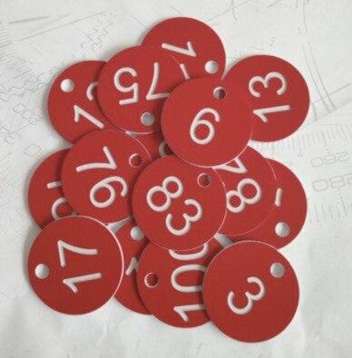 100 sztuk/partia. Średnica 35mm. (Numer 1-100) ABS cyfrowy numer pudełko na karty numer karty kąpieli klucz karty