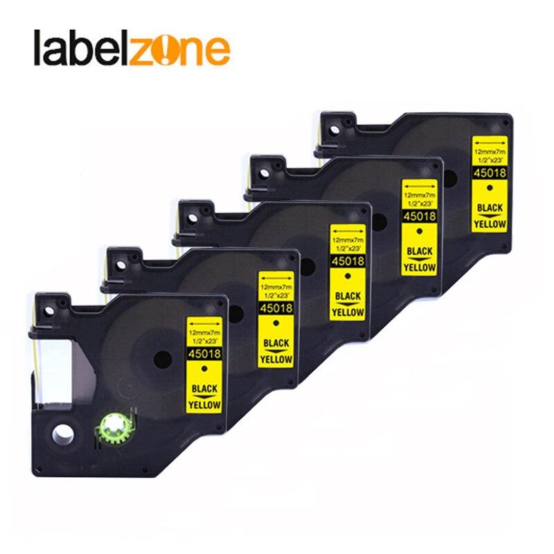 5 pièces 12mm 45018 noir sur jaune compatible dymo D1 12mm imprimante détiquettes 45015 bandes détiquettes stratifiées pour imprimante LabelManager 160