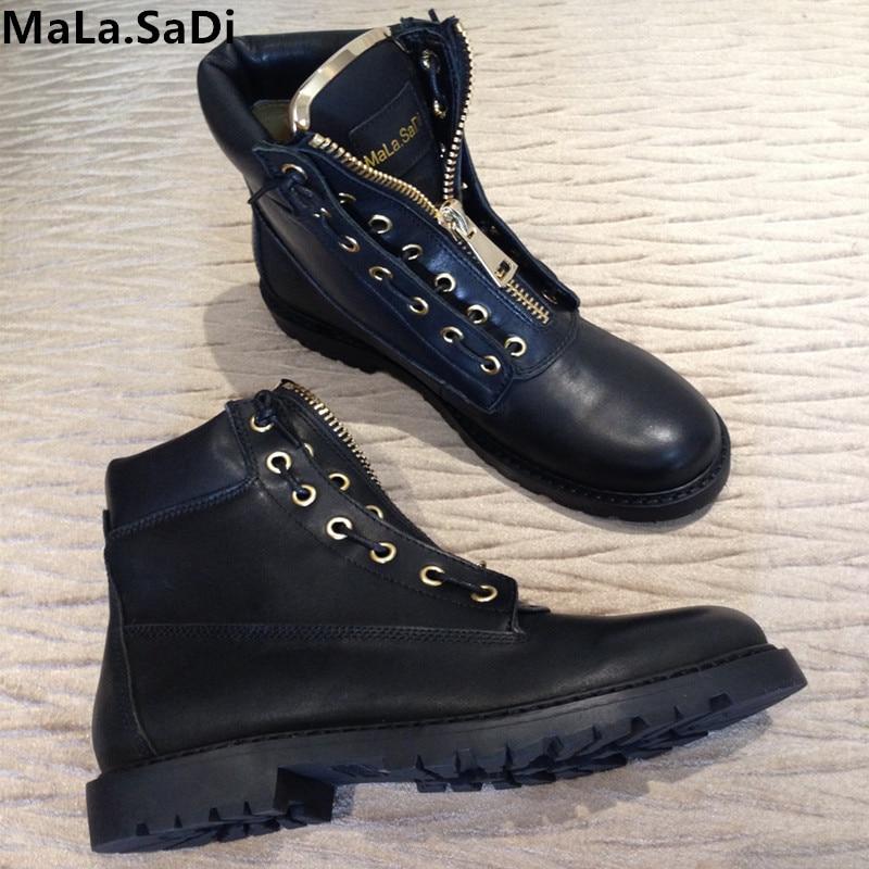 Mode Vrouwen Metalen Rits Wol Bont Warm Ankle Martin Laarzen Motorcyc Hoge Kwaliteit Volnerf Leer Ronde Neus Korte Flats schoenen