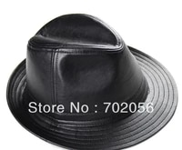 umen real sheepskin leather fedoras jazz hat top hats bucket hat gentleman hat cap 6pcslot 3097