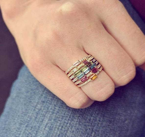 Anillo de compromiso de piedra natal cz, anillo delicado de moda para mujer, anillos de banda de eternidad de zirconia cúbica fina apilada