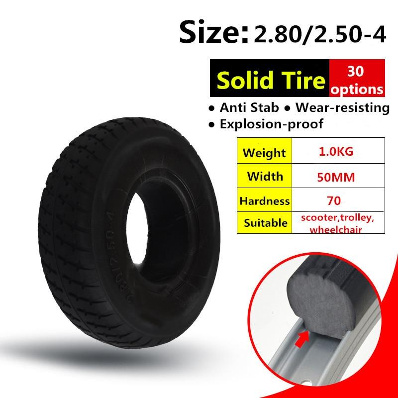 Neumático 2,80/2,50-4 de 9 pulgadas para Scooter Eléctrico, remolque, neumático sólido sin tubo interior de neumático y silla de ruedas, neumático sólido