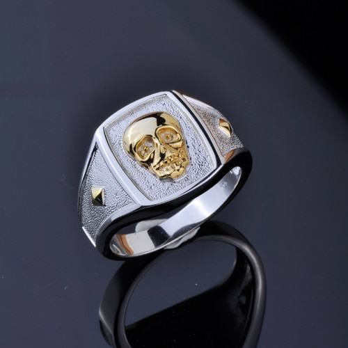 Anillo de calavera de chapado en oro plata 100% 925 con personalidad masculina, anillo de rock punk dominante con dedo índice hipster
