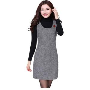 New 2121 Women's Autumn Winter Woolen Vest Dress Plus Size 3XL 4XL Elegant Slim Sleeveless Pencil Dress Female Vestidos Dresses