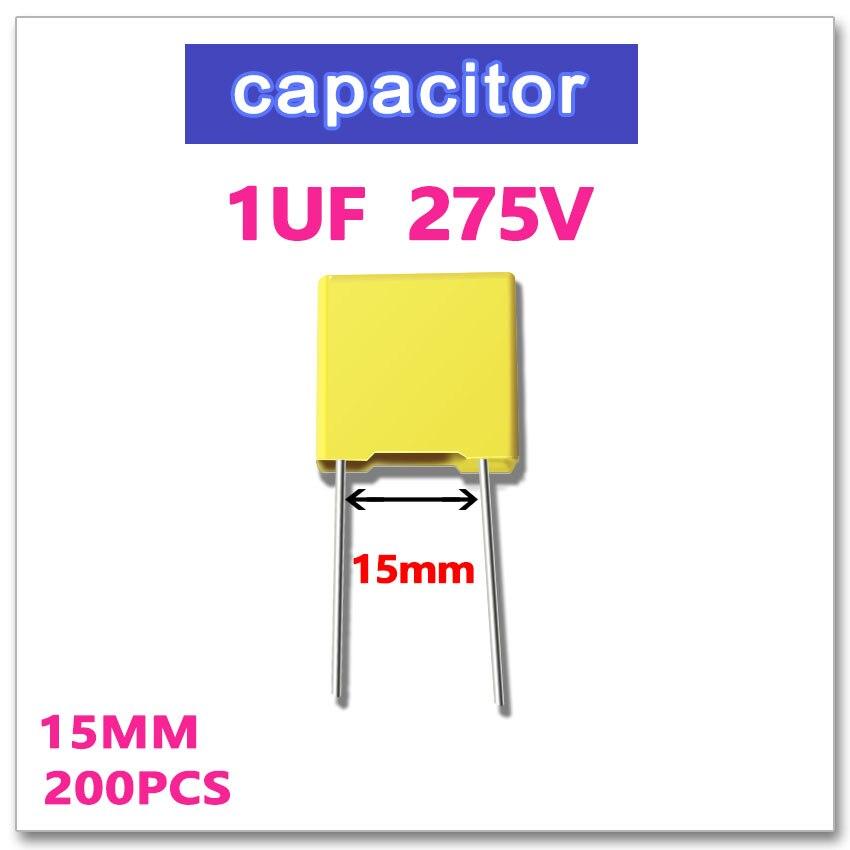 JASNPROSMA 1UF 200 Uds seguridad condensador X2 275VAC Paso 15mm 1000NF 105, 10% K, 275V 105K