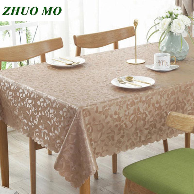 Mantel de mesa PU europeo antiincrustante a prueba de aceite, No lavable mantel, accesorios de cocina, mantel redondo rosa para decoración del hogar