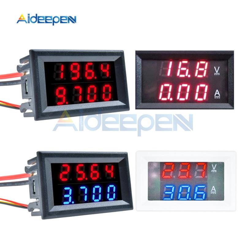 0.28 אינץ מיני דיגיטלי מד מתח מד זרם 4 קצת 5 חוטים DC 100V 200V 10A 50A מתח הנוכחי Meter אדום כחול LED תצוגה כפולה