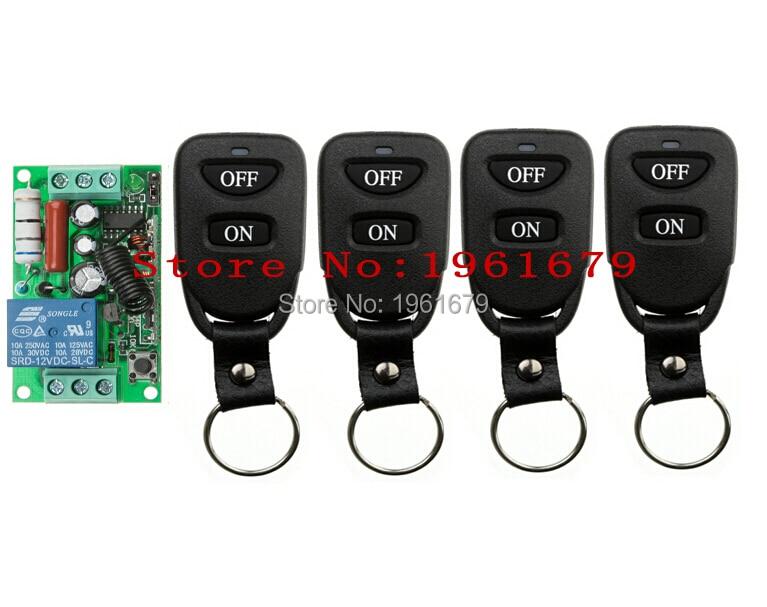 Mando inalámbrico de radiofrecuencia de 1 canal AC 220 V 10 A 55*32*17mm 1 RECEPTOR + 4 transmisor de control remoto de alta calidad