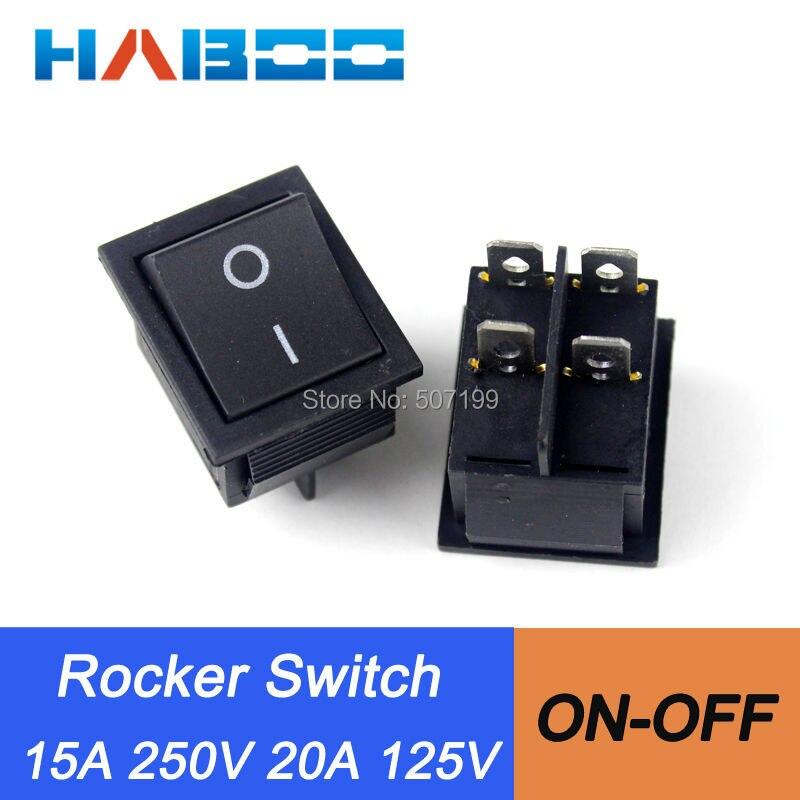 50 unids/lote 15A250VAC interruptor de balancín eléctrico 4 pines 2 posiciones de encendido-apagado SPST mini panel de interruptor de barco de automatización hogar aparato