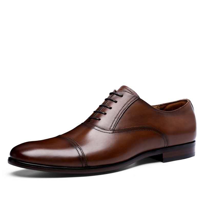 Marca DESAI, zapatos de vestir de cuero genuino de grano completo para hombres de negocios, zapatos Oxford de charol Retro para hombres, talla Europea 38-47