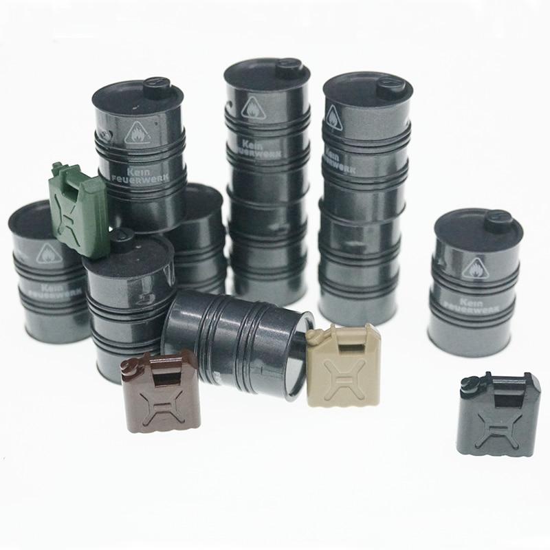 5 Pcs/Lot Military MOC Building Blocks Oil Drum Fuel Barrel Modern War Soldier City Police Weapon Brick Toys For Children X304