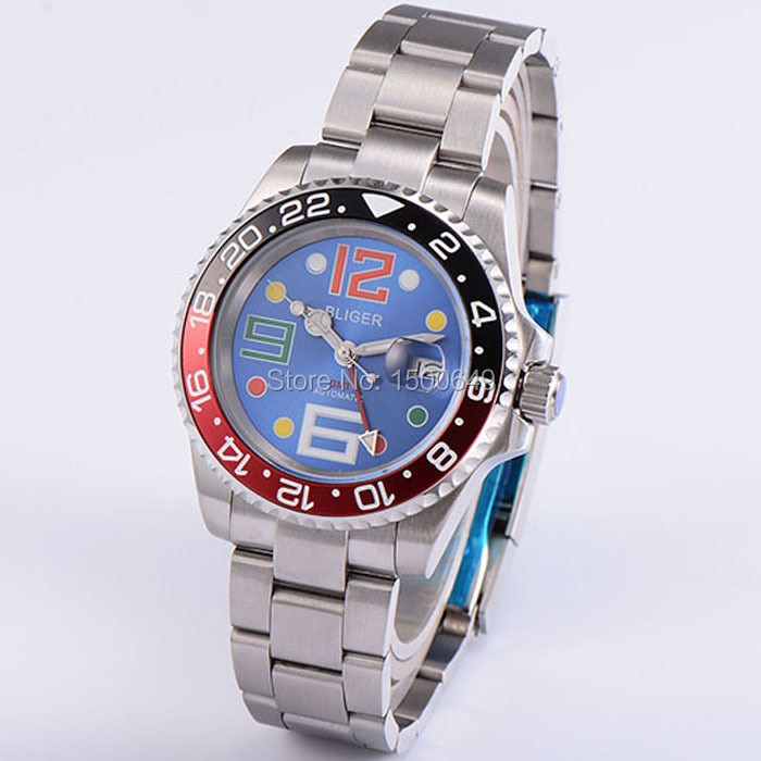 Relojes de pulsera BLIGER de 40mm, esfera azul, cerámica, bisel, zafiro, reloj automático para hombre