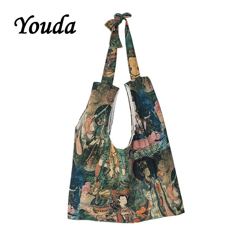 Bolso de mano Original de arte religioso Youda, bolso de lona de gran capacidad Estilo Vintage, bolso de hombro grueso, bolso de compras reciclable Casual