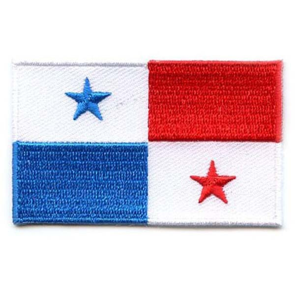 """2,5 """"bandera de Panamá parche bordado broder plano con hierro en el respaldo envío gratis por correo"""