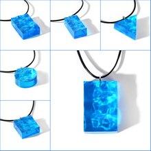 Mode Ozean Stil Blau Meer Wasser Welligkeit Anhänger Harz Halskette Seil Kette Ozean Welle Charme für Mädchen Schmuck Geschenke