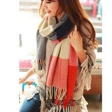 2019Autumn Winter Female Wool Plaid Scarf Women Cashmere Scarves Wide Lattice Long Shawl Wrap Luxury Brand Blanket Warm Tippet