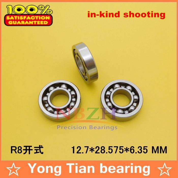"10PCS High Quality ABEC-5 R8 OPEN 1/2"" X 1-1/8"" X 1/4"" inch 12.7*28.575*6.35 mm open mini deep groove ball bearing R8K"