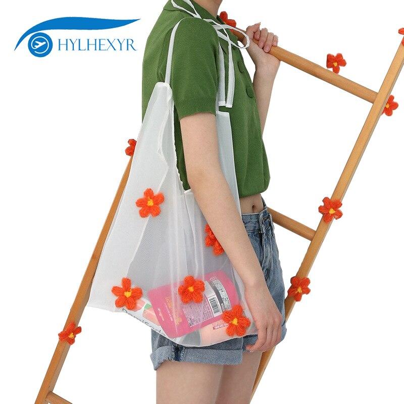 Hylhexyr, bolso femenino de playa con bordado de margaritas, bolso de hombro individual de Organza, bolso de mano con flores, bandoleras para mujer