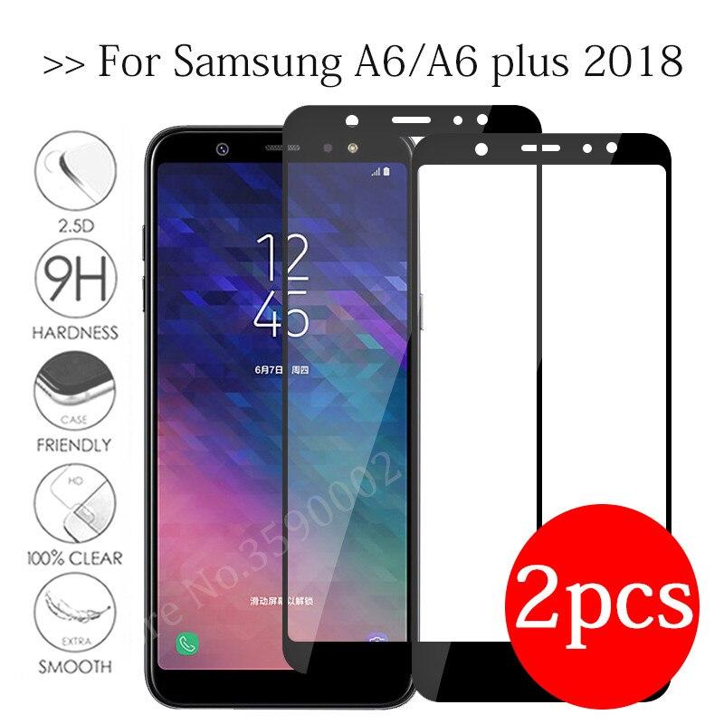 2 шт. закаленное стекло для samsung galaxy a6 plus 2018 защита экрана на galax a 6 a6 + a6plus 6a защитная пленка