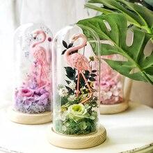 Rosa flamencos preservado natural flores de chica de cúpula de vidrio tapa hogar Decoración boda decoración regalo flor florero Decoración Luz