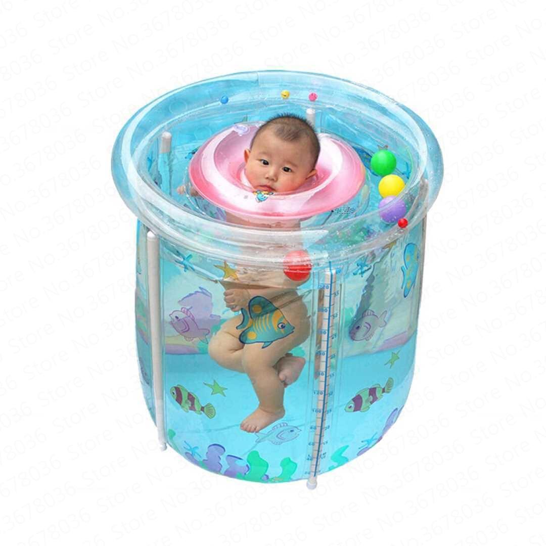 Cubo inflable transparente para bebés, piscina, niños pequeños, bañera de baño gruesa, aislamiento para niños Plegable, piscina