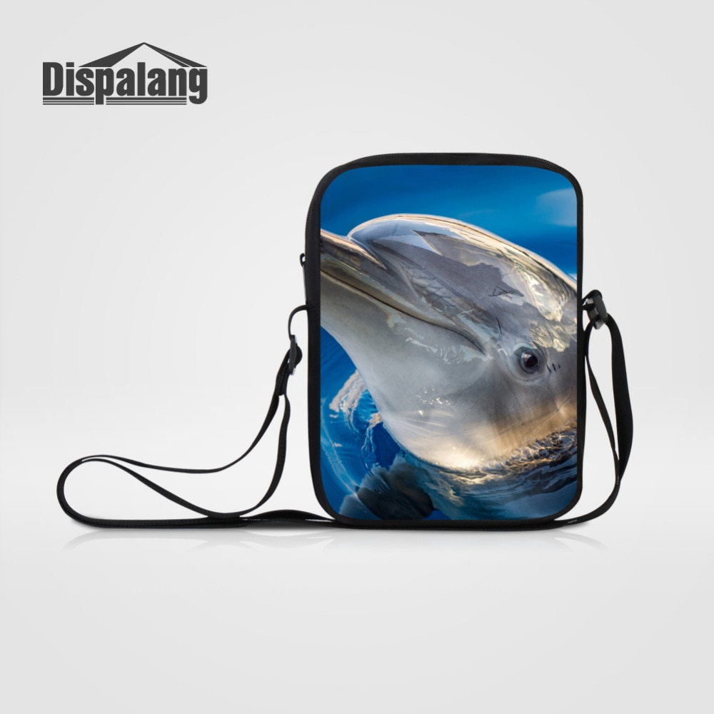 Dispalang мини-сумка-мессенджер для мужчин и женщин с 3D принтом животных, сумка на плечо, школьная сумка с дельфином, маленькая Кроссбоди сумка д...