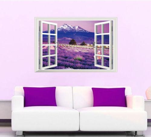 3D sala de estar dormitorio TV mural Fondo montaña lavanda moderno papel tapiz