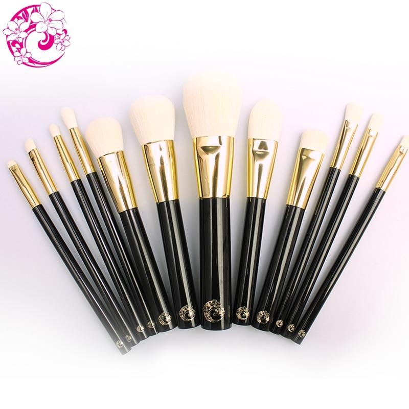 Marca Energy juego de brochas profesionales 12 uds, brochas de maquillaje pelo sintético, virola de aluminio, mango de plástico, Pincel Maquiagem B12TFC