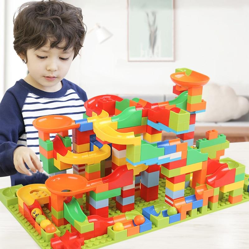 330 Uds. Carrera de mármol laberinto bola pista bloques de construcción compatibles Legoed juguetes ABS embudo tobogán ensamblar ladrillos Mini bloques de tamaño
