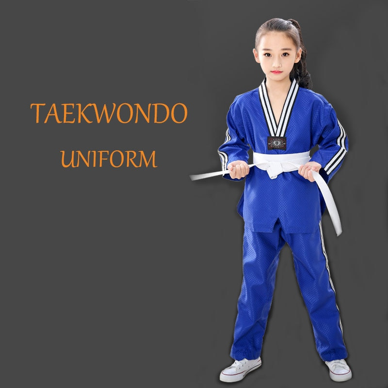 Uniforme profesional de Taekwondo para adultos y niños, patrón de Dobok bordado, uniformes de mangas largas, ropa unisex de Taekwondo