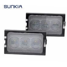 2 unids/set SUNKIA luz LED de matrícula para Land Rover Discovery 3 4 Freelander 2 para llamó Rover Sport Auto número de lámparas