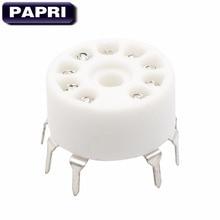 PAPRI 100PCS Ceramic PCB MOUNT 9Pin B9A Tube Sockets Audio HIFI DIY Amplifier For 12AX7 12AT7 12AU7 EL84 6922 5670  Vacuum Tube