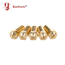 5Pcs/lot New Volcano 3D printer All metal brass E3D Lengthen extruder nozzle 0.4/0.6/0.8/1.0/1.2mm For 1.75/3mm supplies