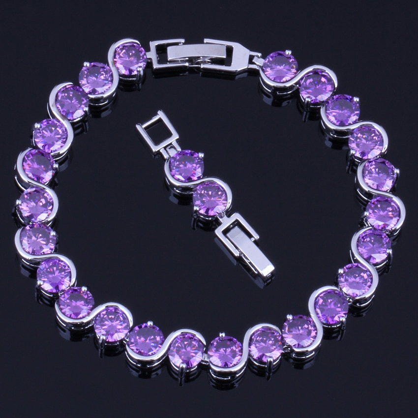 Przyjemna okrągła fioletowa sześcienna cyrkonia posrebrzana bransoletka z łańcuszkiem 18cm 20cm V0220