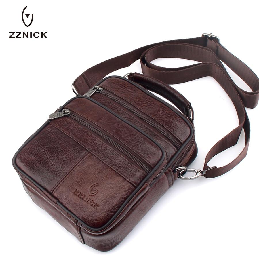ZZNICK New Fashion Genuine  Leather Shoulder Bag Hot Sale Small Messenger Bags Men Travel Crossbody Bag Handbags Men Bag Flap