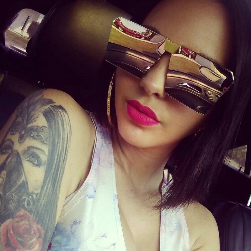 Солнцезащитные очки без оправы для мужчин и женщин, Большие Квадратные Зеркальные брендовые дизайнерские солнечные очки большого размера ...