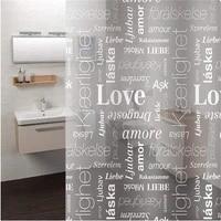 Rideaux de bain-douche transparents LOVE 180x180cm  pour salle de bain  resistant a la moisissure  etanche avec crochets