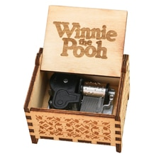 Winnie The Pooh Music Box 18 Note Windup Clockwork Mechanism Engraved Wood Music Box for Kids,Play W